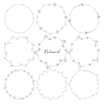 Set of botanical round frame, hand drawn flowers, botanical composition, decorative element for invitations card