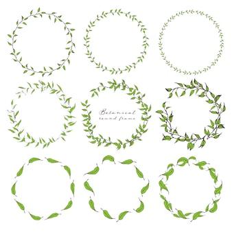 Set of botanical round frame, hand drawn flowers.