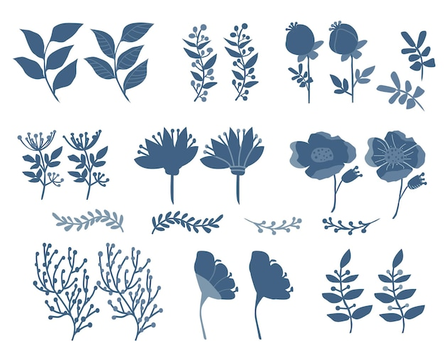 Set of botanical silhouettes of flowers branches and field grass
