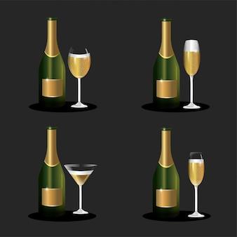 新年を祝うためにガラスでボトルシャンパンをセット