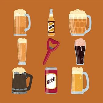 Set of bottle opener and beers