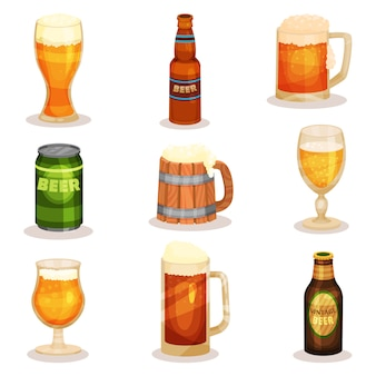 Set of bottles, glasses and mugs of beer. alcoholic beverage. elements for promo poster or banner of brewery