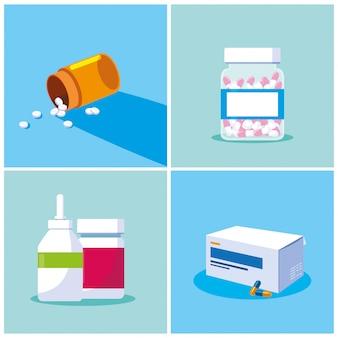 Set of bottles medicines probiotics