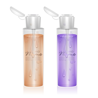 Set of bottles for micellar water with fluid of orange and purple colors