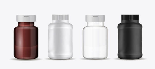 Set of bottles for pills