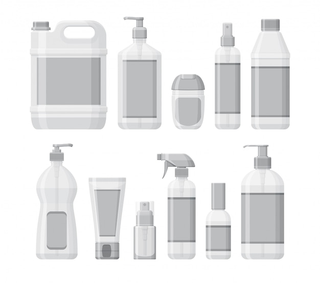 Set of bottles with antiseptic and hand sanitizer. washing gel and spray. personal protective equipment during epidemic.  containers for liquids.  illustration