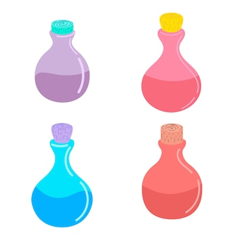 A set of bottles with a magical magic potion. vector illustration