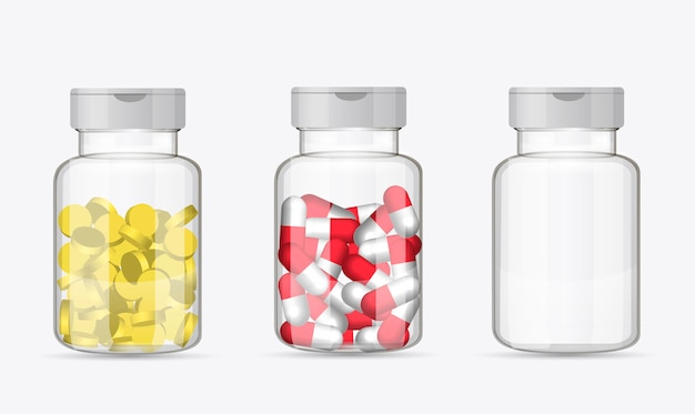 Set of bottles with pills