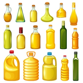 Set of bottles with vegetable oils.