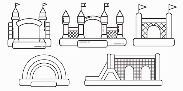 Set of bouncy inflatable castles. tower and equipment for child playground.