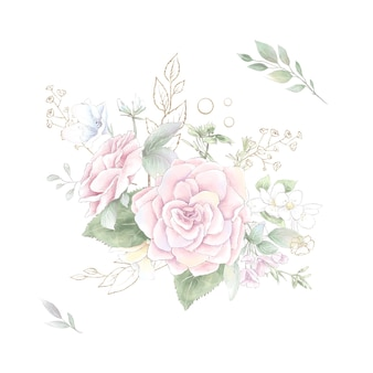 A set of bouquet of delicate roses and orchids. watercolor illustration.