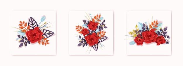 디자인 카드 엽서 섬유 전단지 벡터에 대한 종이 크래프트 스타일의 장미 꽃다발 설정