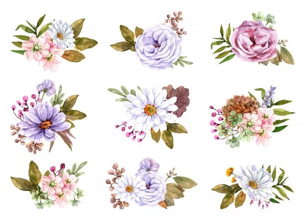 수채화 꽃다발을 설정합니다.