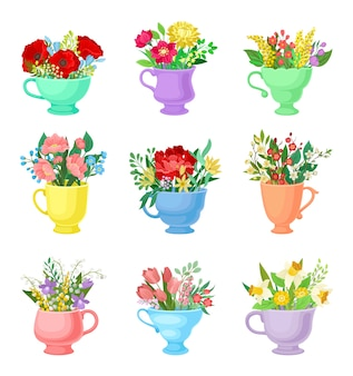 Set of bouquets in ceramic monophonic circles