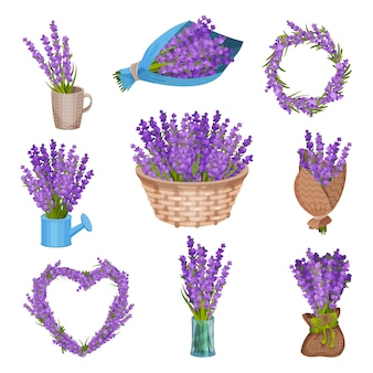 Set of bouquets of flowers.  illustration.