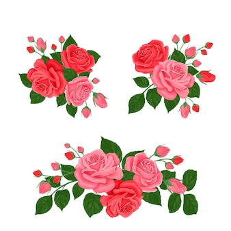 Set of bouquets of rose flowers.