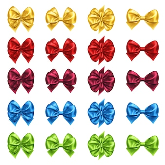Set of bow knots for gift decoration