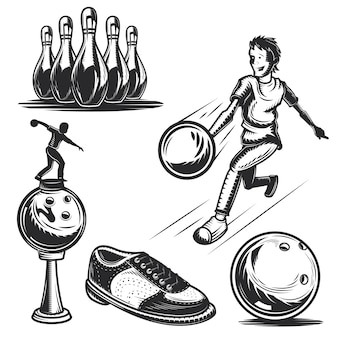 Set of bowling elements for creating your own badges, logos, labels, posters etc.