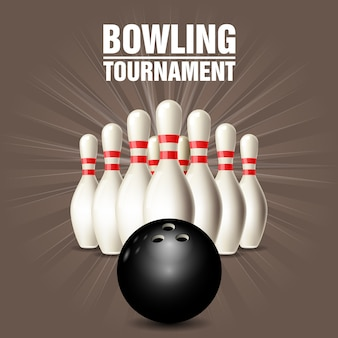 Set of bowling skittles and bowling ball