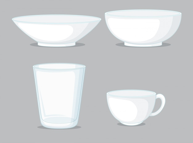 Set of bowls and cups