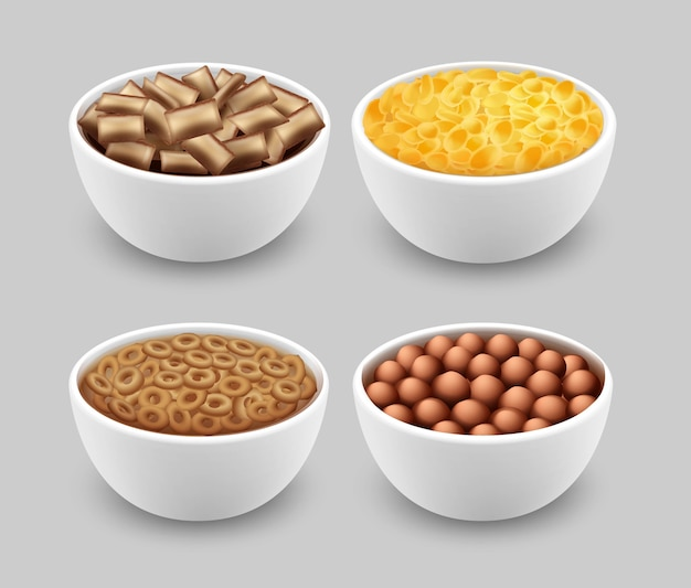Set of bowls with corn pads rings balls and cornflakes isolated on gray background
