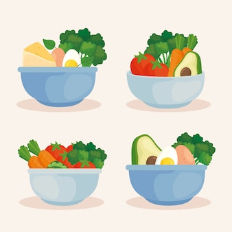 Set bowls with vegetables and healthy food, concept healthy food