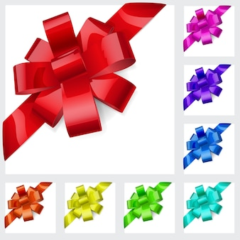 Set of bows made of shiny multicolored ribbons