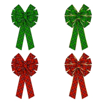 Set of bows with tartan texture and gold edging for christmas wreath and decorations