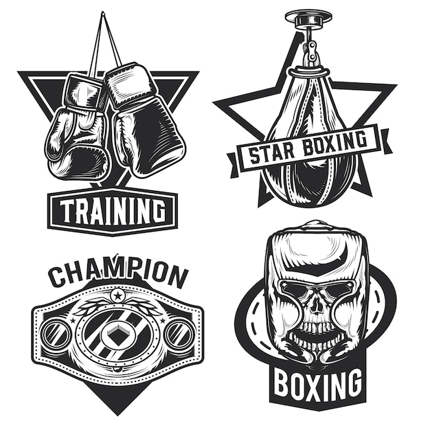 Set of box emblems, labels, badges, logos.