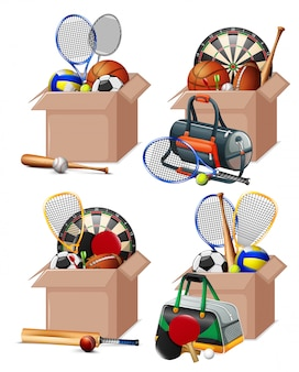 Set of boxes full of sport equipments on white