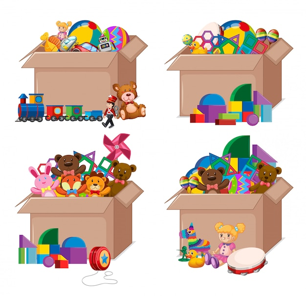 Set of boxes full of toys on white
