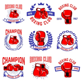 Set of boxing club emblems. boxing gloves.  elements for logo, label, badge, sign, brand mark.  illustration