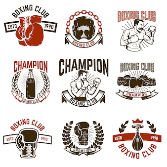 Set of boxing club emblems. boxing gloves.  elements for logo, label, emblem, sign.  illustration