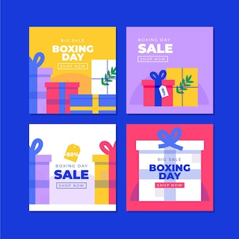 Set of boxing day event sale instagram posts