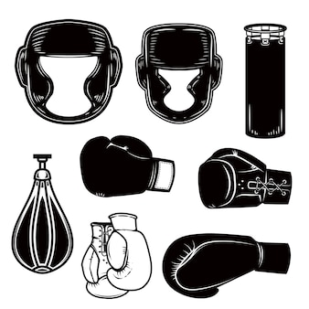 Set of boxing design elements. boxer helmet, gloves, bags.