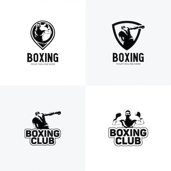 Set of boxing logo design templates