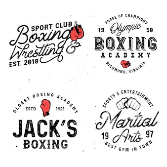 Set of boxing & mma themed retro logo templates in vintage style with grunge effect.