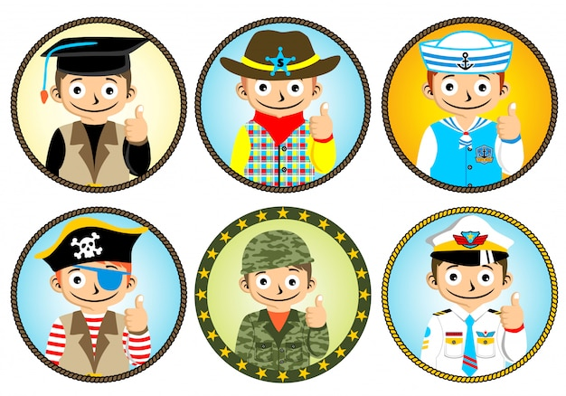 Set of boy cartoon with different uniform