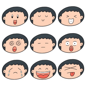 Set of boy face