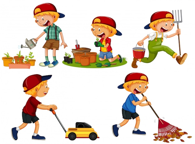 Set of boy gardening