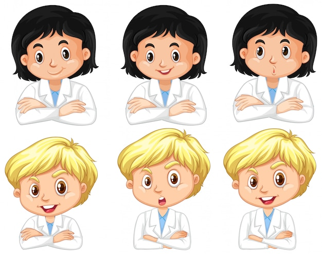 Set of boy and girl in science gown with different facial expressions