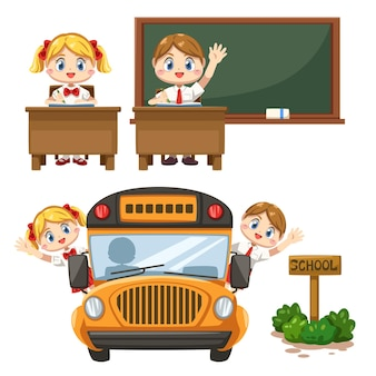 Set of boy and girl wearing student uniform in classroom, chalkboard and sitting on the school bus