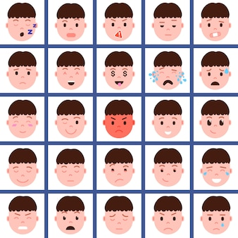 Set boy head emoji personage icon with facial emotions, avatar character, face with different male emotions concept