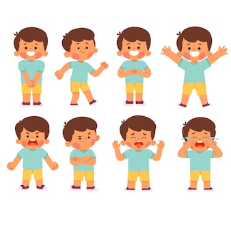 Set of boy kid child characters face expression illustration