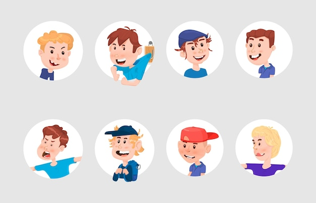 Set of boy's avatars in flat style