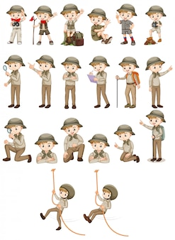Set of boy in safari outfit doing different actions