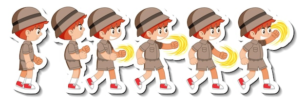 Set of boy scout in different action