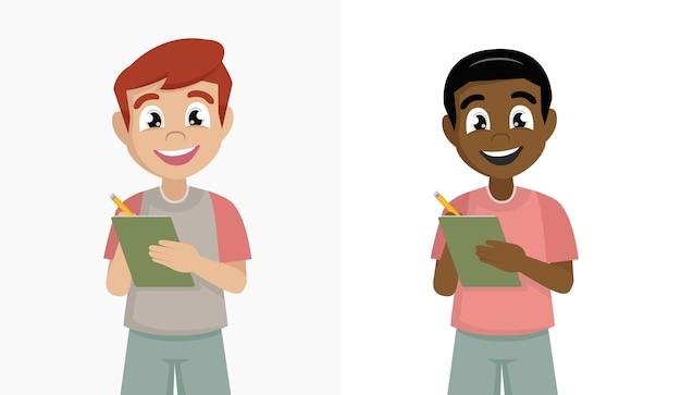 연필과 노트북으로 설정된 소년 학생