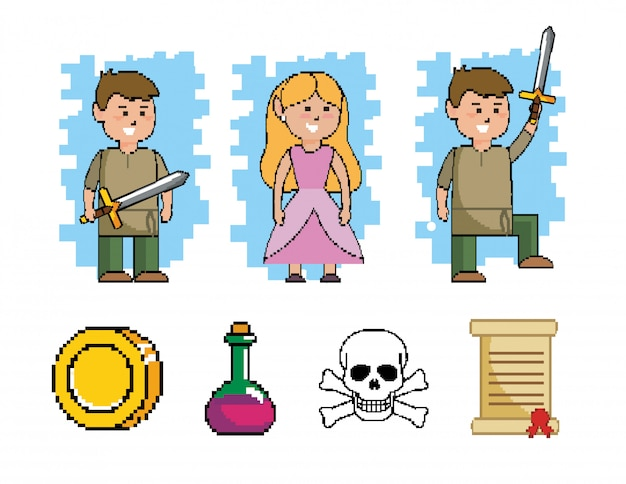 Set of boy with sword and princess with videogame