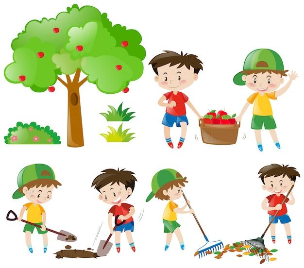Set of boys doing farm work